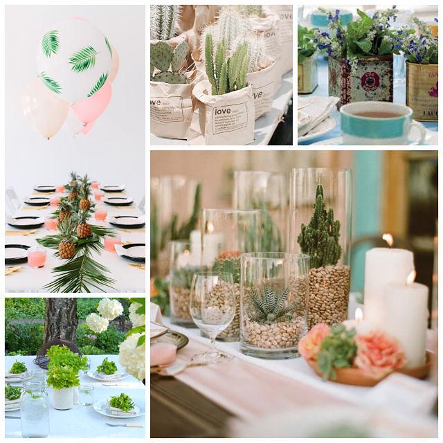 decorar la mesa con plantas verdes y cactus