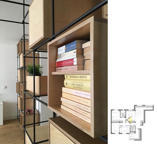 Detalle de almacenaje en estantería de diseño