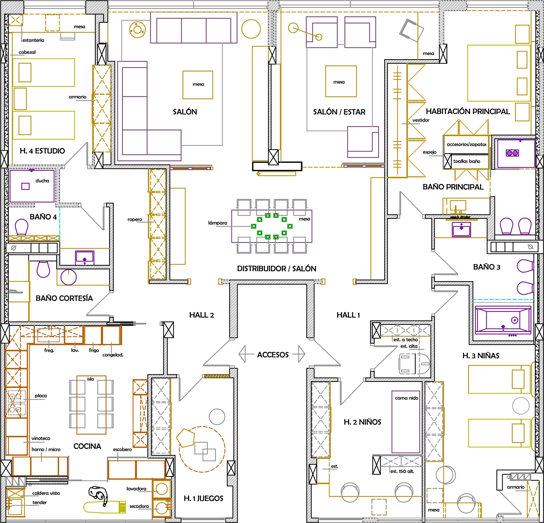 Uni n de dos pisos for Planos de pisos grandes