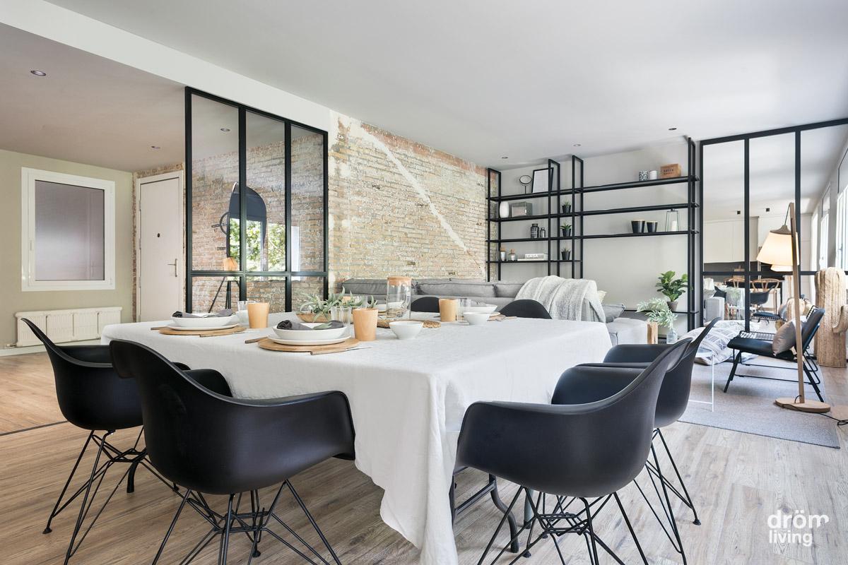 Interior de carácter industrial en una reforma de vivienda en Barcelona