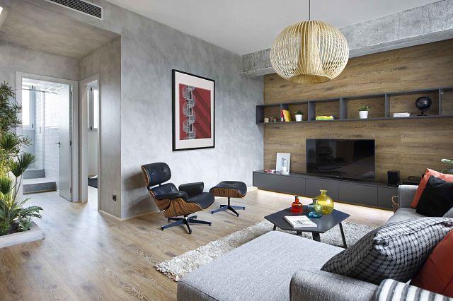 Dise o de interior de vivienda poblenou en 3 actos for Decoracion con microcemento