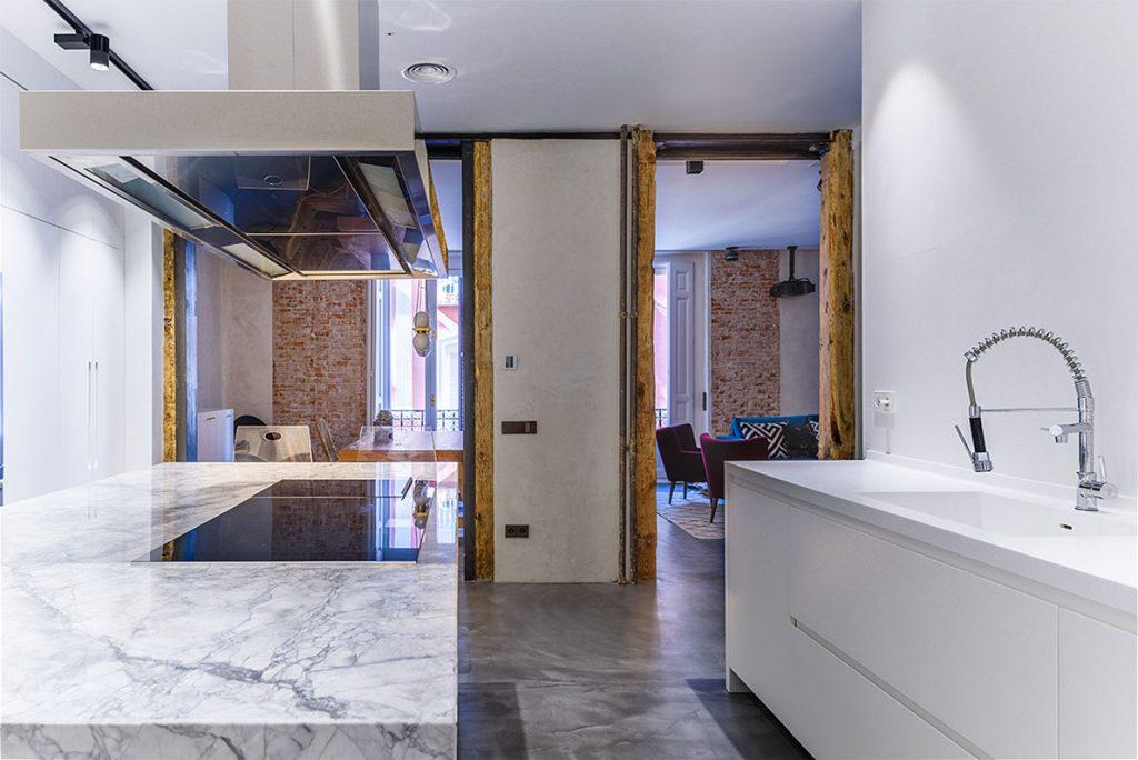 cocina en reforma de un piso antiguo en Madrid