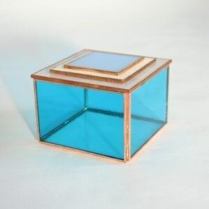 Joyero azul Isli con tapa de espejo