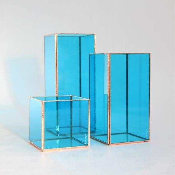 conjunto portavelas vidrio azul isli